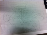 I sketched the outline of the flower on newsprint using a larger grid to maintain the proportions.
